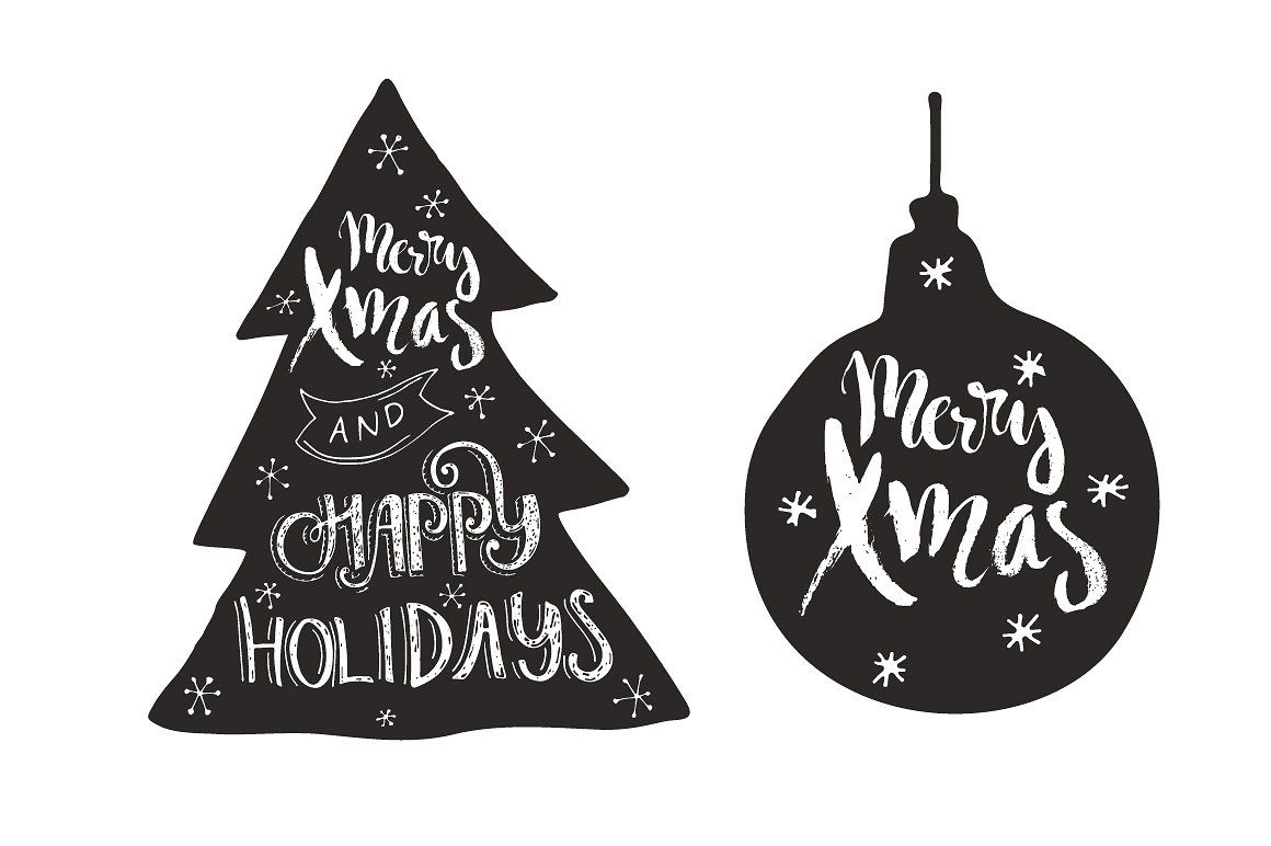 Handdrawn Christmas Quotes in Shapes by Favete Art on @creativemarket