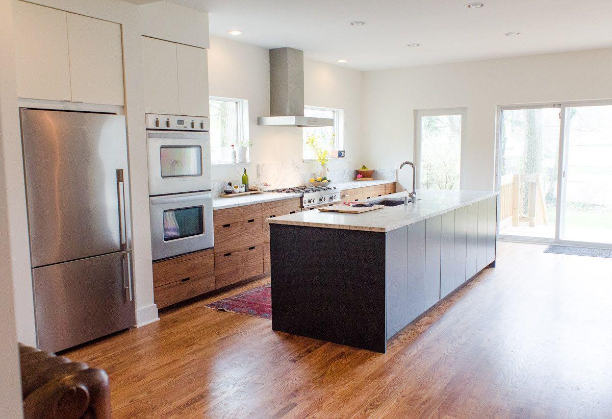 Slab kitchen cabinets  Semihandmade IKEA Kitchens cabinets in DIY slab Walnut  Kitchen