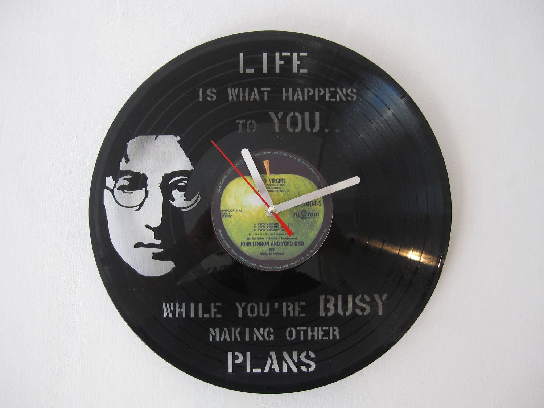 vinyl laser cut clock - John Lennon