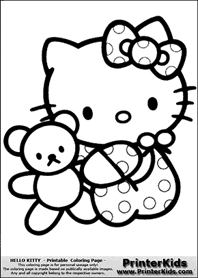 Hello Kitty Baby In Dots With Teddy Coloring Page Preview Hello Kitty Coloring Hello Kitty Colouring Pages Hello Kitty