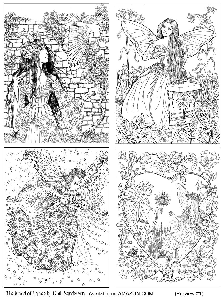 Four Images From The World Of Fairies Coloring Book For Adults By Ruth Sanderson Fairy Coloring Book Fairy Coloring Coloring Books