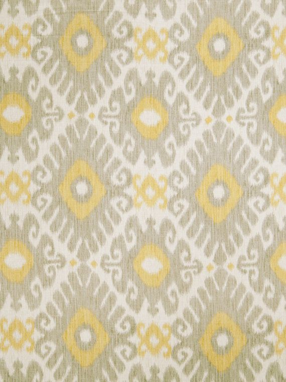 Lemon Yellow Grey Ikat Linen Upholstery Fabric Light Grey Ikat Curtain Material Yellow Home