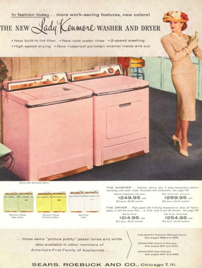 sears pink washer dryer retro vintage 50s just