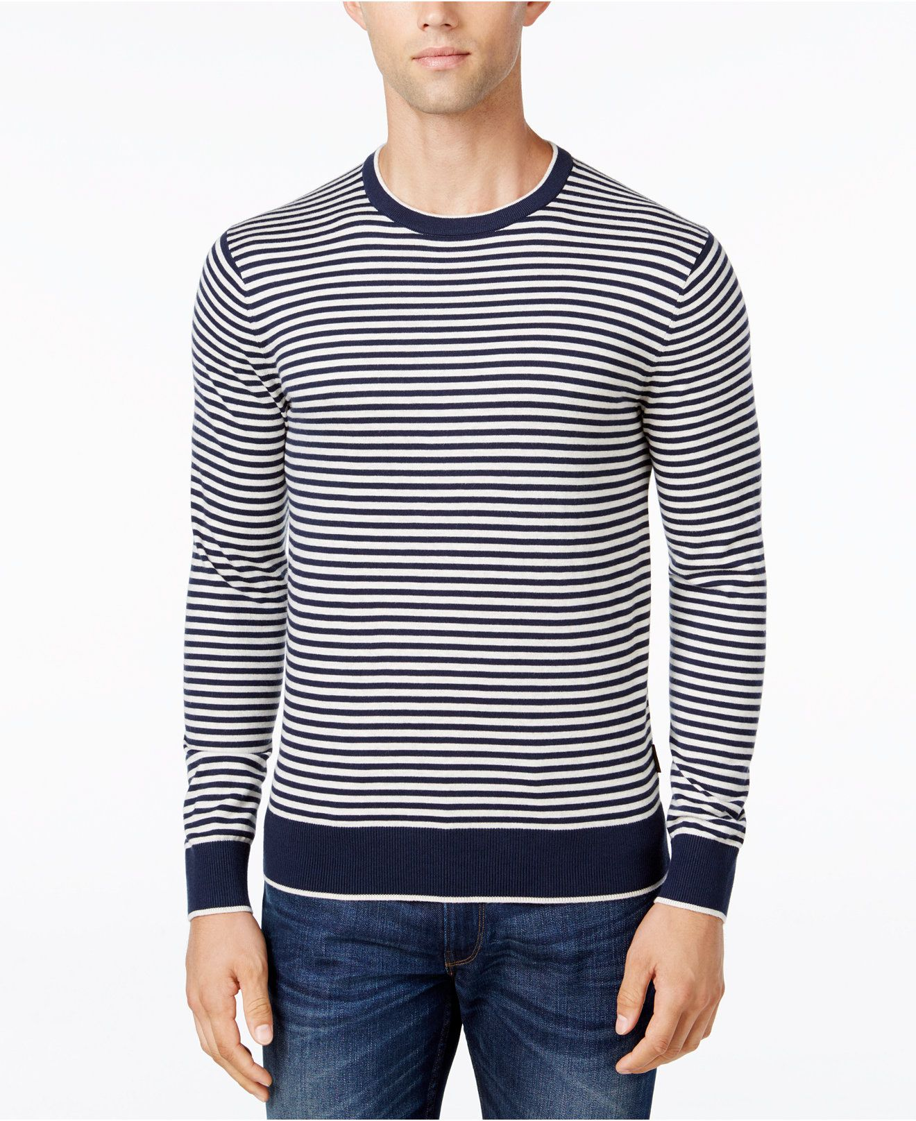 Michael Kors Men's Feeder Striped Crew-Neck Sweater - Sweaters ...