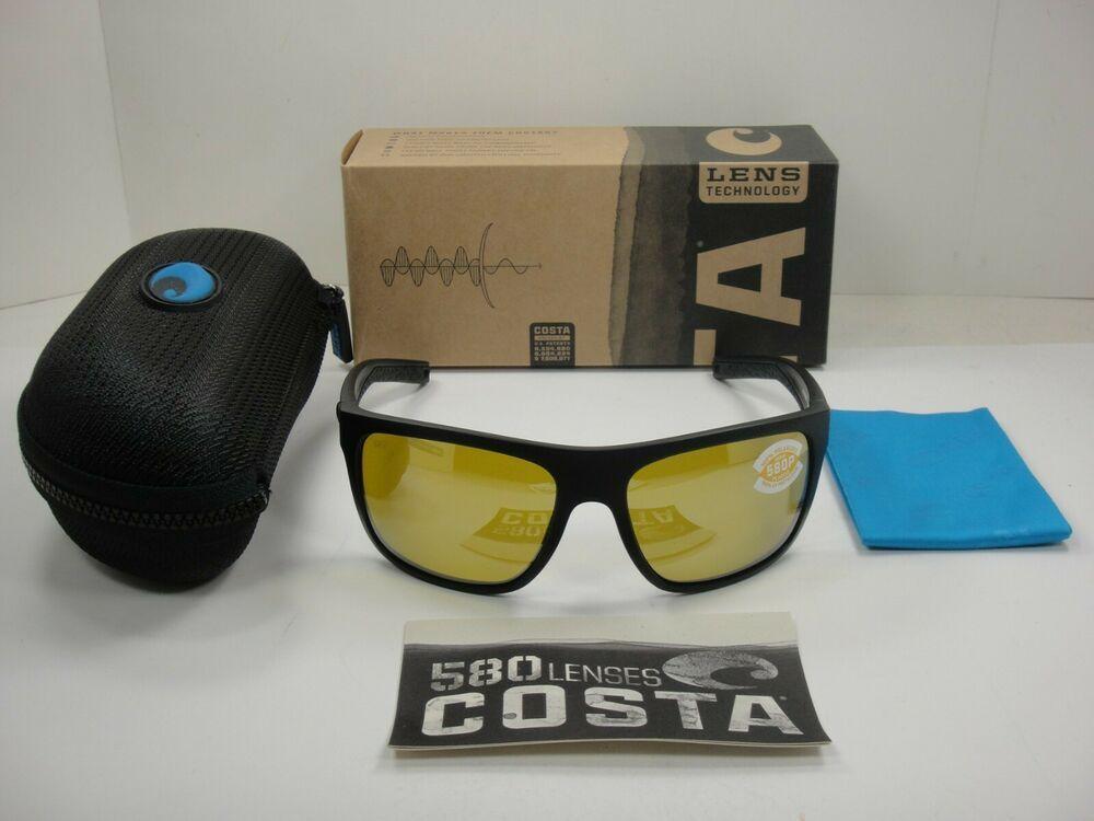 NEW Costa Del Mar BRB11-OSSP580P Matte Black Sunrise Silver Mirror Sunglasses