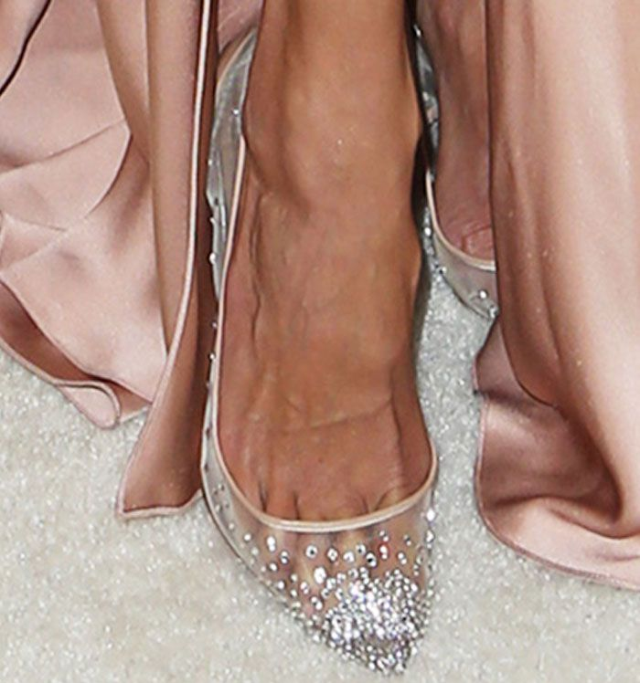 dca002c026ff Alessandra sparkles in a pair of Christian Louboutin Follies Strass pumps