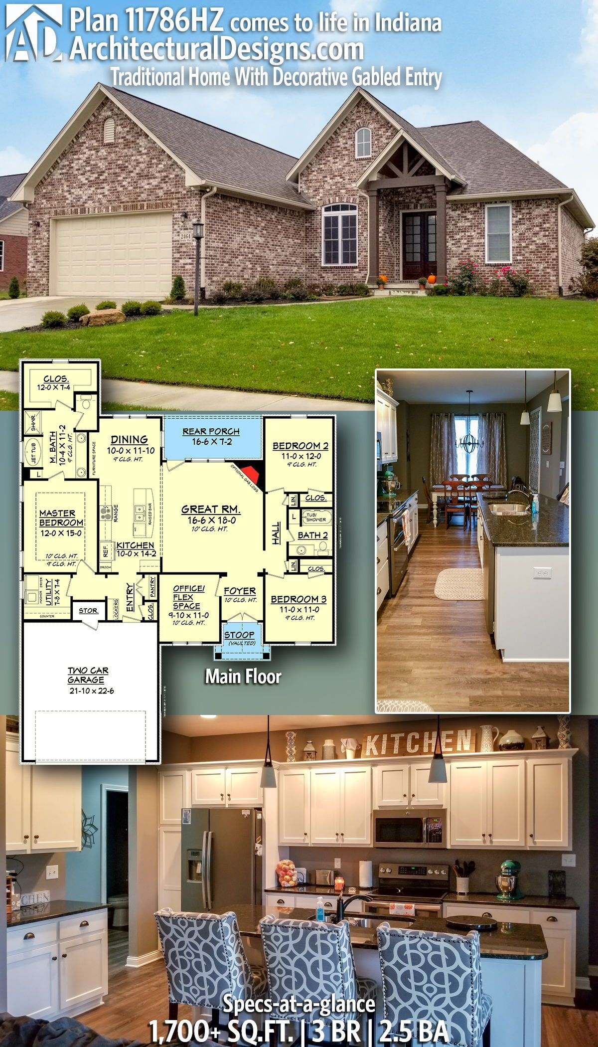 Plan 11786hz Traditional Home With Decorative Gabled Entry House Layouts House Blueprints Traditional House