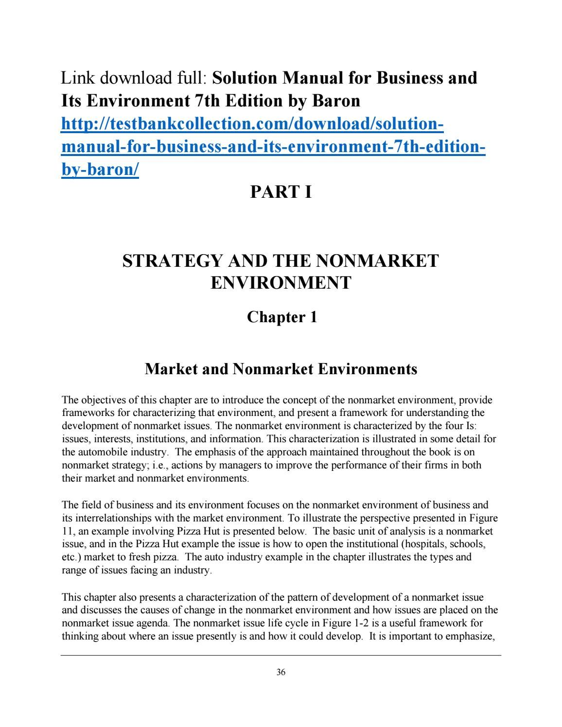 Solution manual for business and its environment 7th edition by baron