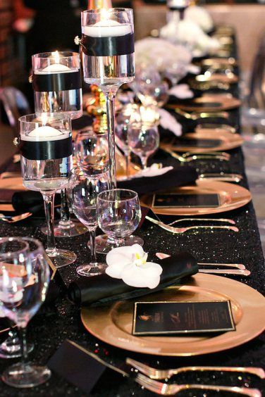 Black And Gold Tablescape Shared On Aisle Perfect Centerpieces