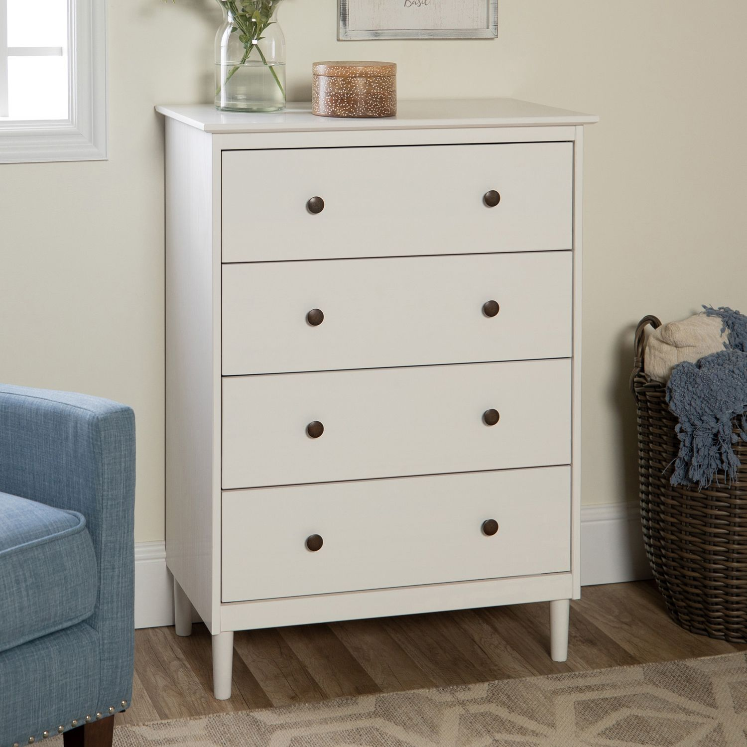 Traditional White Solid Wood 4 Drawer Dresser Dresser Decor
