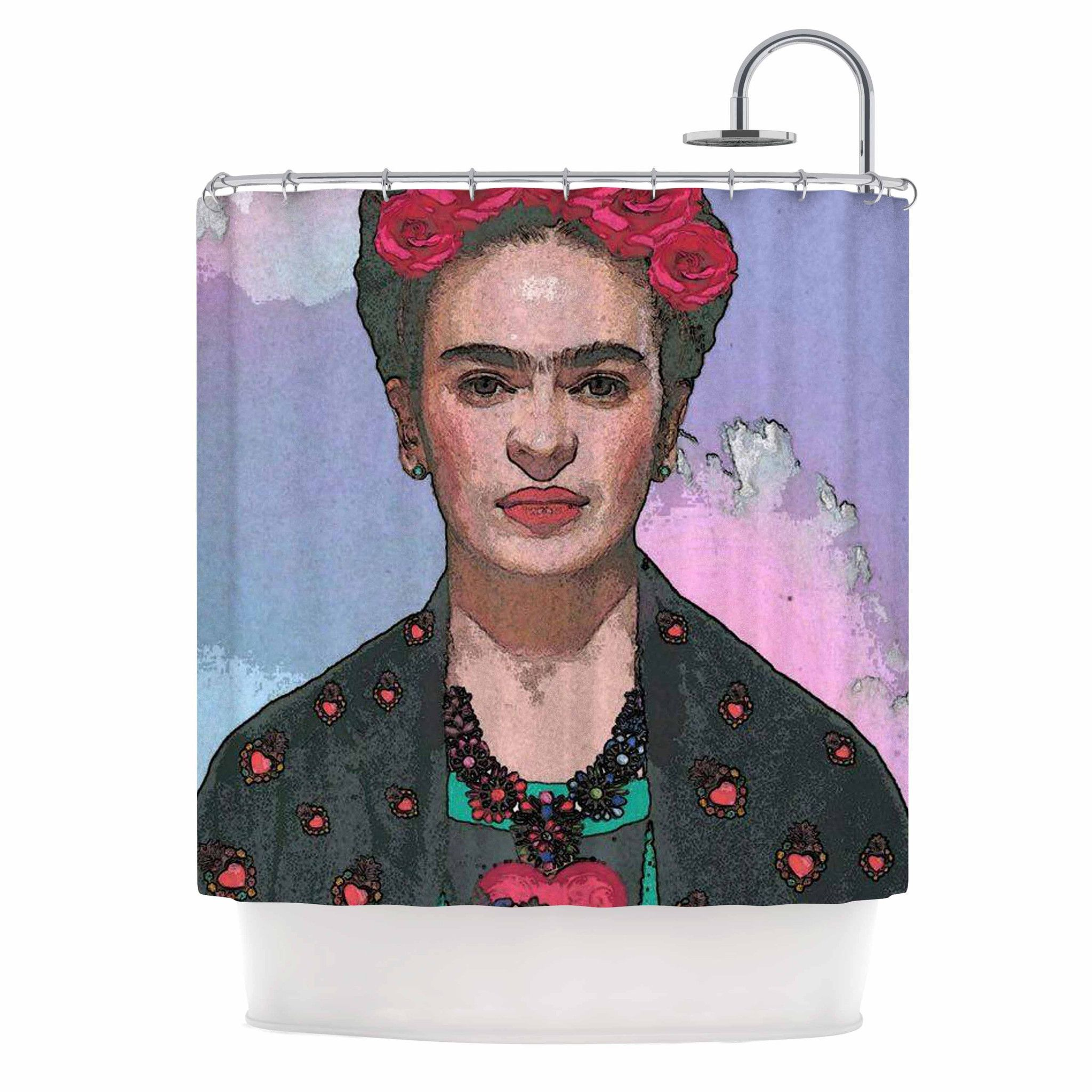 "Oriana Cordero ""Trendy Frida Kahlo-Ferwell"" Black Red Shower Curtain"