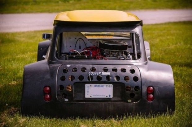 custom mini cooper with a mid engine chevy 350 v8 engine. Black Bedroom Furniture Sets. Home Design Ideas