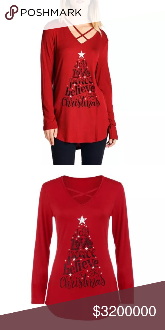 Christmas Top.Red Long Sleeve Criss Cross Front Christmas Top Cute Red