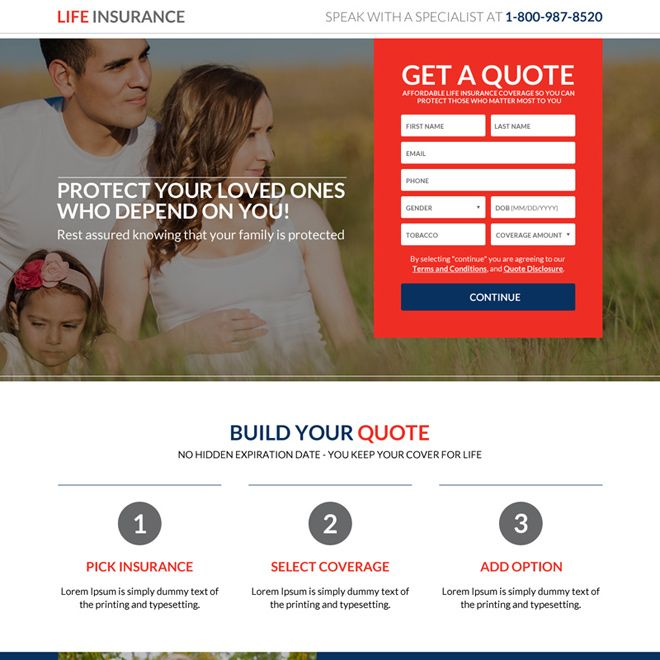 Secure Your Family Future Life Insurance Landing Page Life