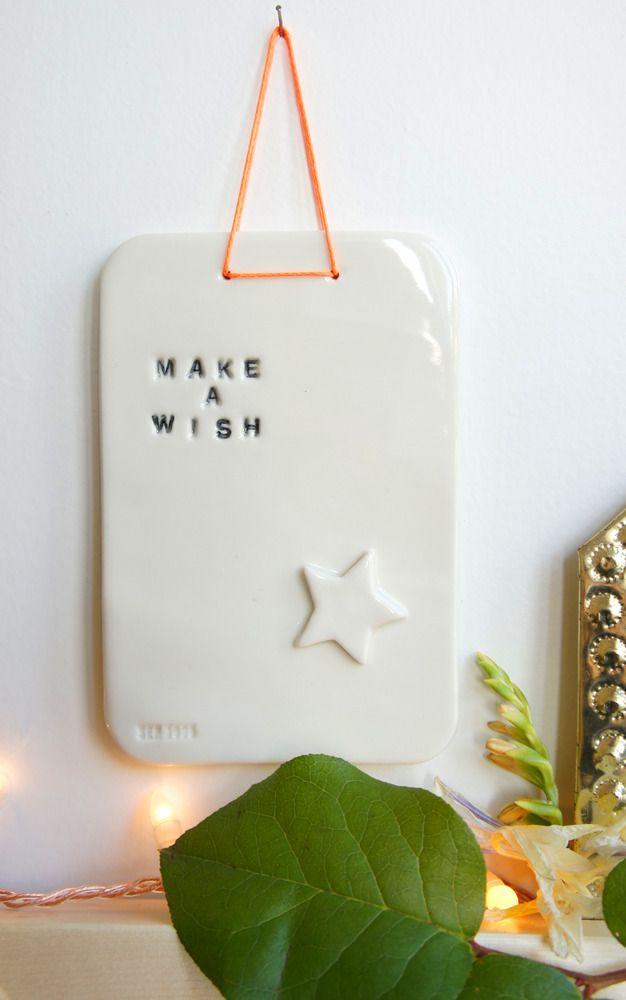'Make a wish' ceramic plaque