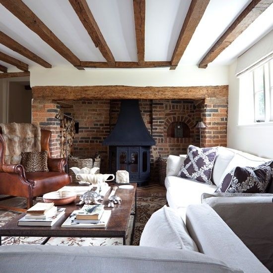Large country living room | Living room idea | Leather chair | Fireplace | Image | Housetohome