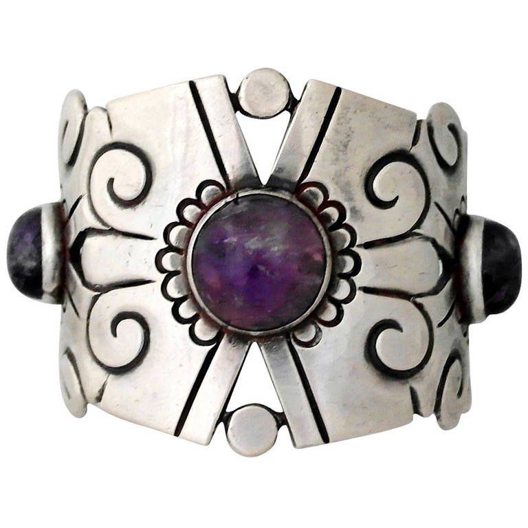William Spratling Amethyst Sterling Silver Cuff Bracelet | From a unique collection of vintage cuff bracelets at https://www.1stdibs.com/jewelry/bracelets/cuff-bracelets/