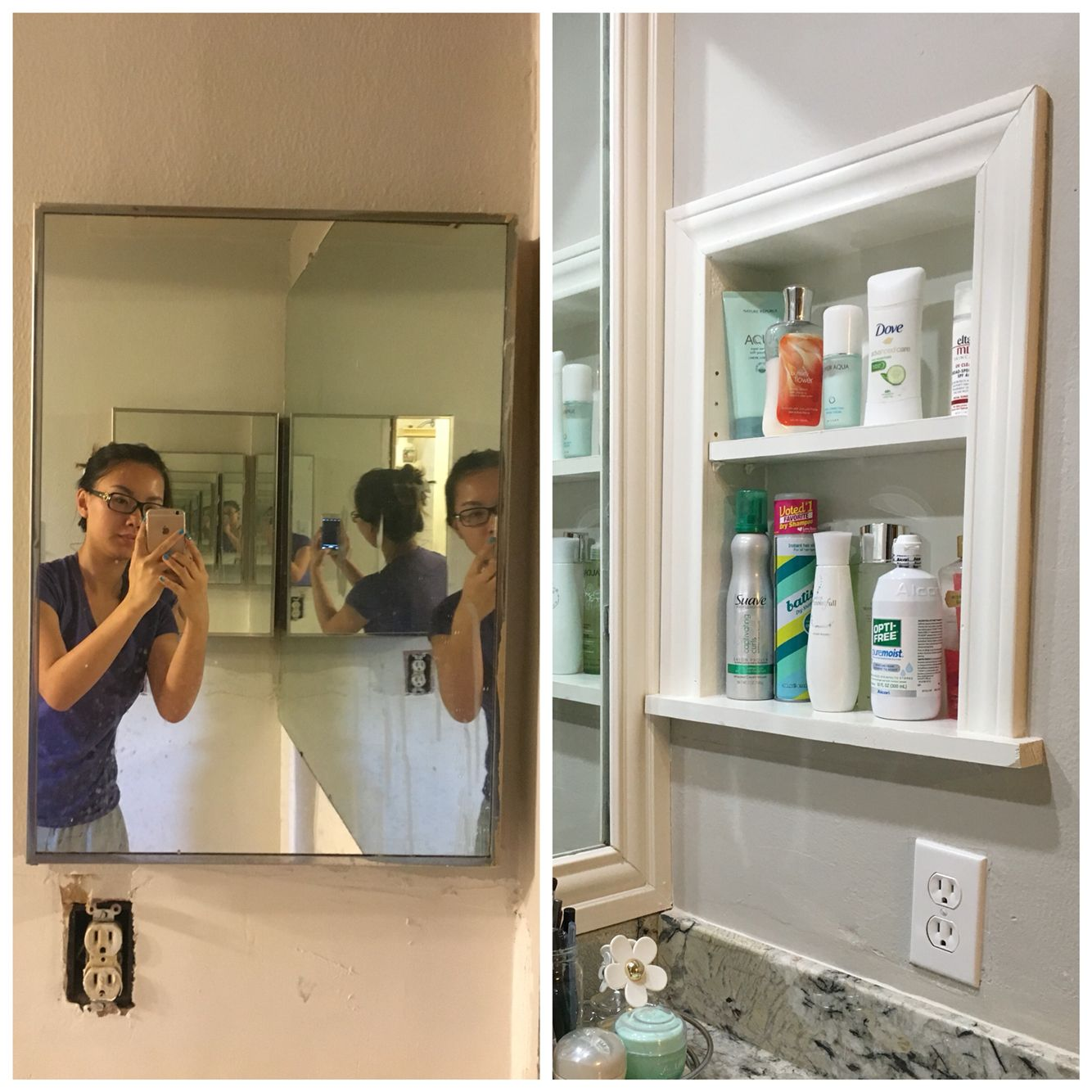 Replaced Old Medicine Cabinet With Scrap Wood Build In With Adjustable Shelves Old Medicine Cabinets Bathroom Mirror Adjustable Shelving