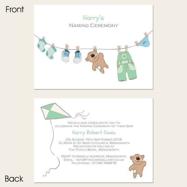 Naming Ceremony - Boys Teddy \ Washing Line - Postcard naming - naming ceremony invitation