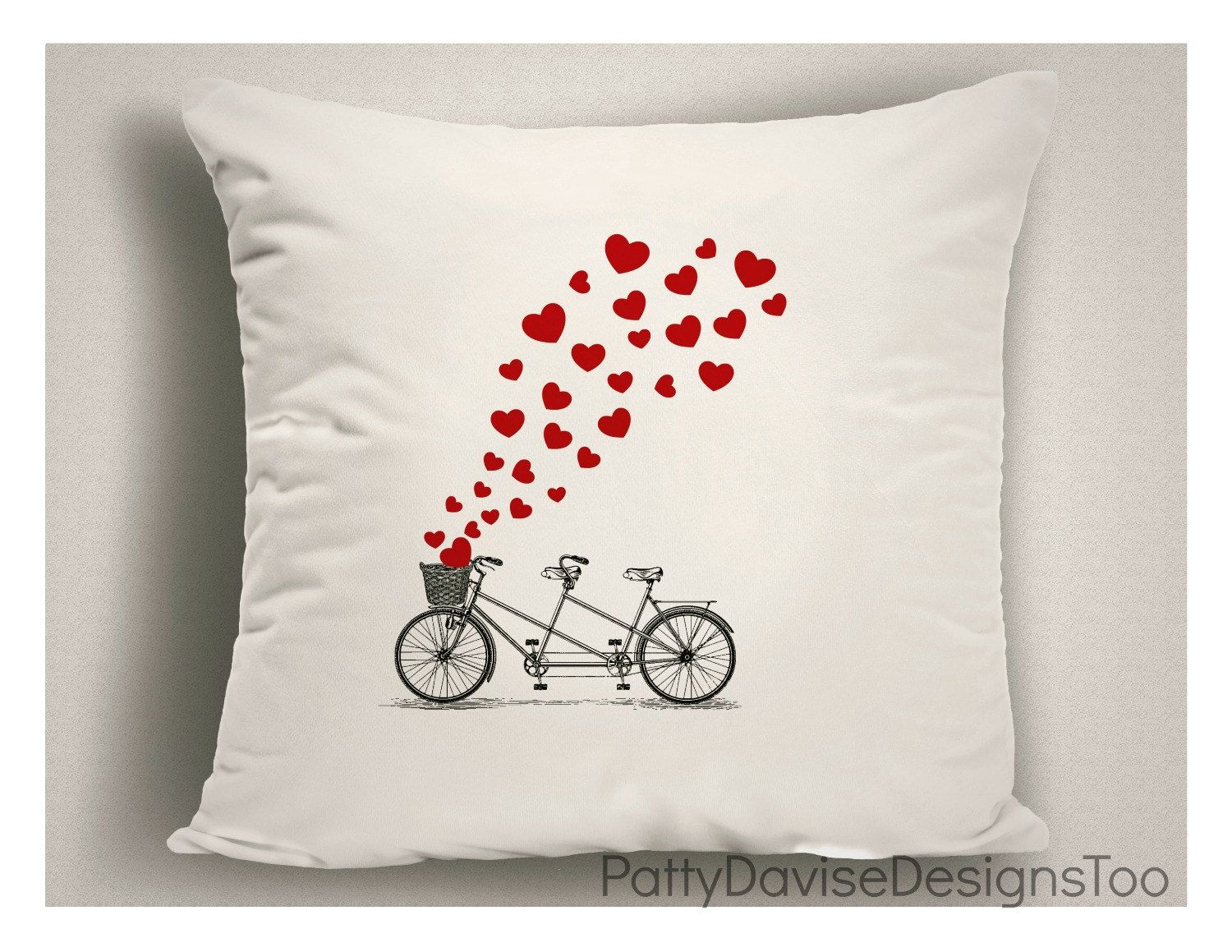 Valentine Gifts With Bicycle And Hearts, Valentine Pillows, Valentineu0027s Day  Decor, Valentine Pillow