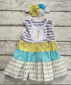 Another great find on #zulily! Yellow & Gray Tiered A-Line Dress & Headband - Toddler & Girls by Chicaboo #zulilyfinds