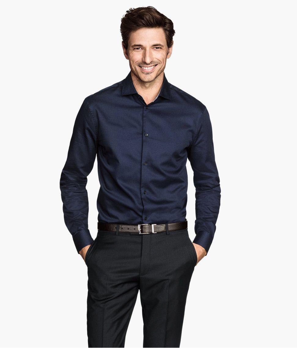 84be0d83b555 Dark blue button-up shirt with premium cotton & cutaway collar. | H&M Men's  Classics