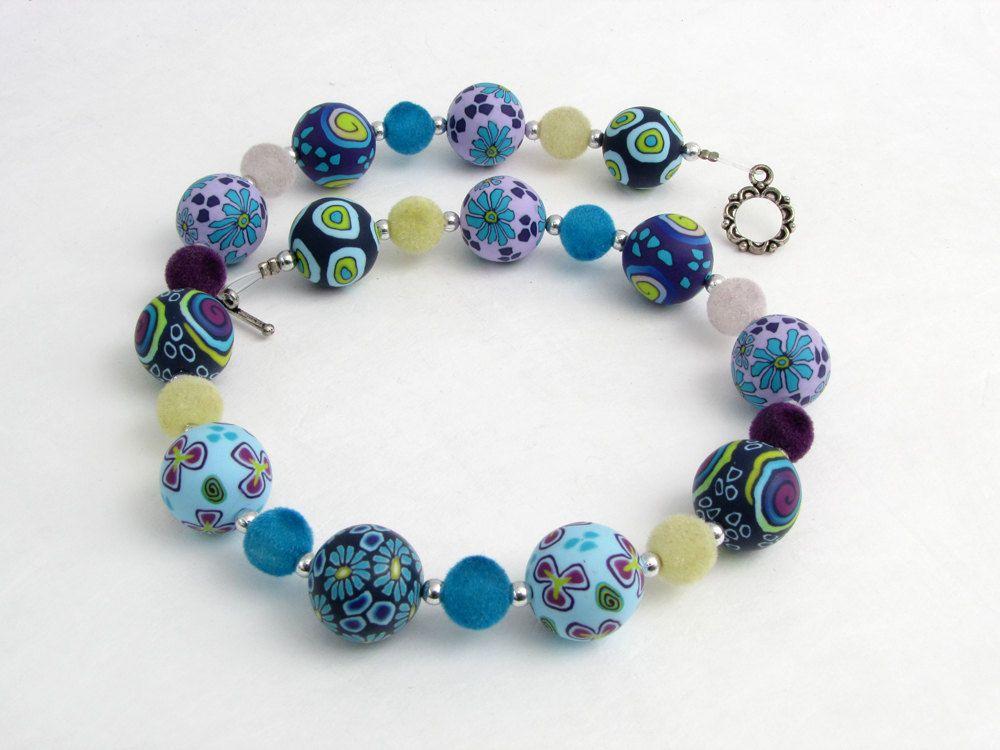 Sea, Halskette aus handgefertigten Polymer Clay Perlen