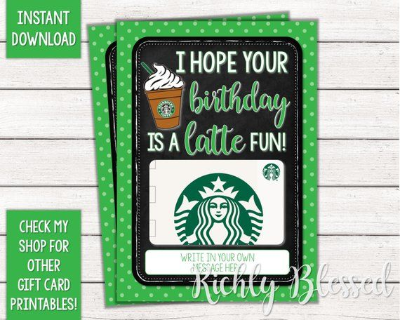 INSTANT DOWNLOAD Starbucks Gift Card Birthday Card Holder ...