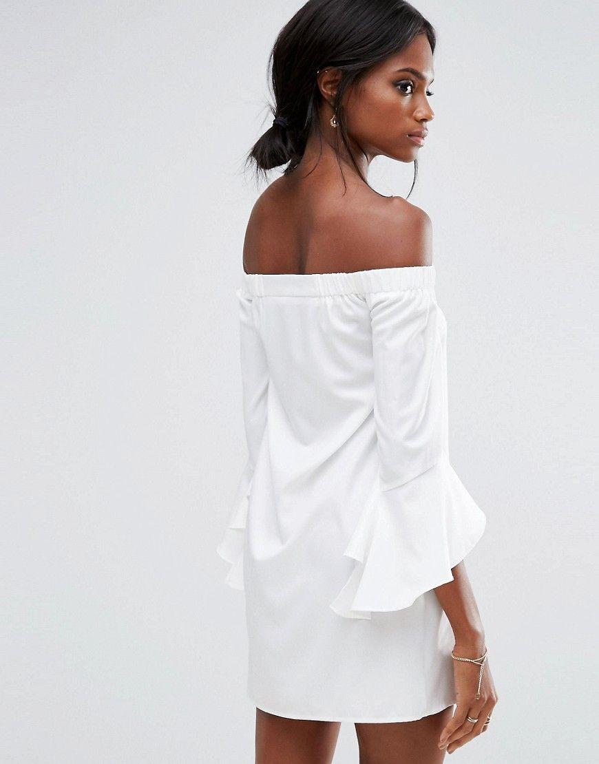 22832646aa4f Missguided Ruffle Sleeve Bardot Mini Shift Dress - White