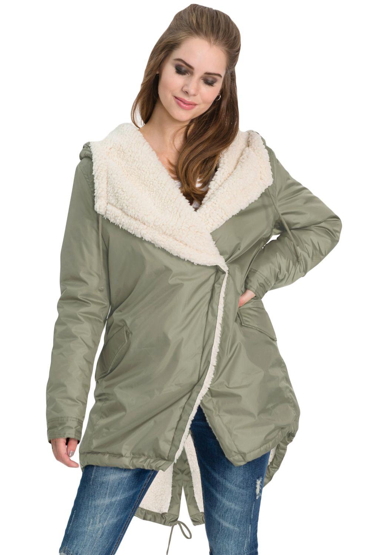 Khaki Asymmetric Hooded Fleece Winter Coat Shop Womens Jackets Outwear Jackets Jackets [ 1500 x 1001 Pixel ]