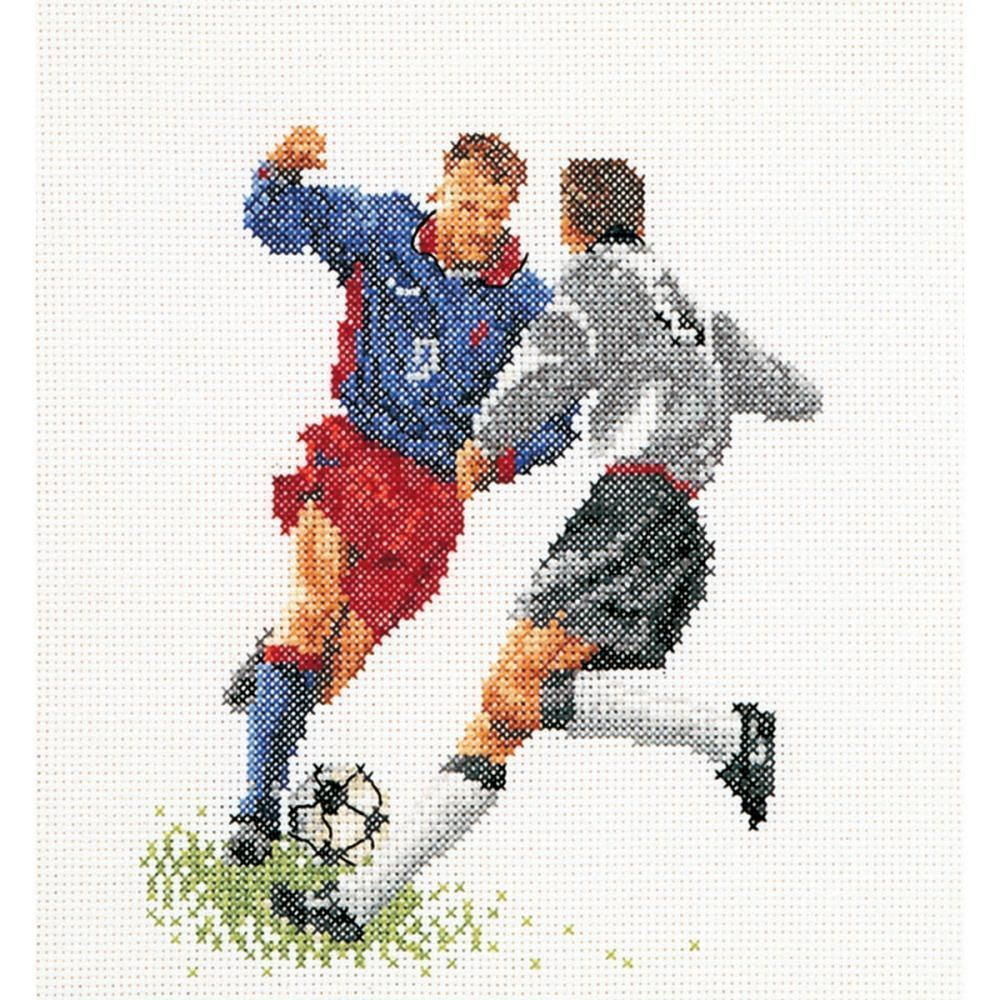 "Football (Soccer) On Aida Counted Cross Stitch Kit-6.25""X6.75"" 18 Count"