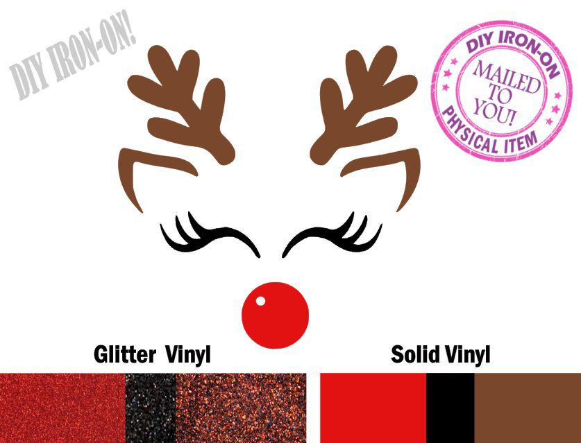 d519fb50431 Excited to share this item from my #etsy shop: Diy REINDEER FACE Christmas  Iron On Vinyl Applique Decal, Rudolph Shirt Logo, Eyelashes Patch, Glitter  Antler ...