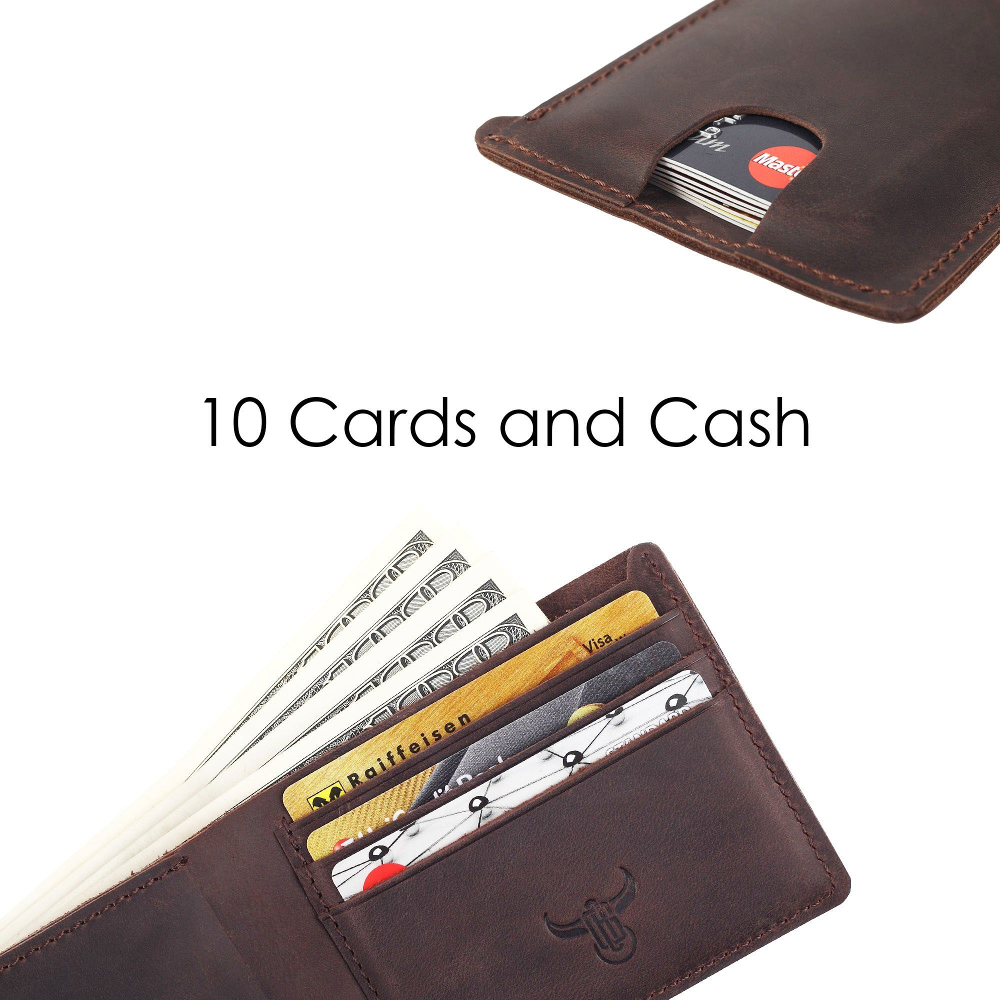 Real Leather Wallet Zipper Slim Coin Card Cash Note Holder Travel Gift Boxed