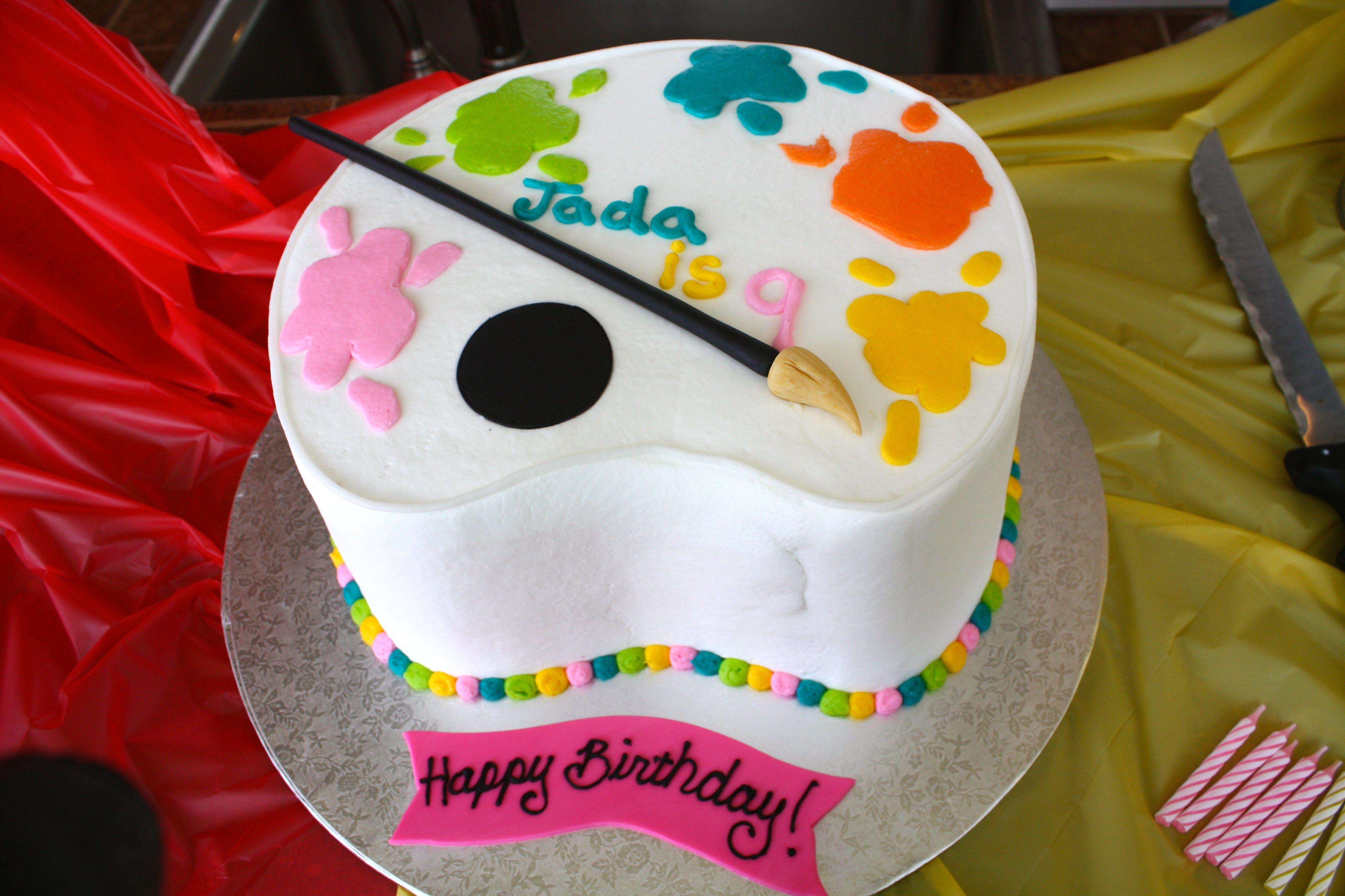 Superb Art Party Cake Art Party Cakes Kids Art Party Art Birthday Party Funny Birthday Cards Online Necthendildamsfinfo