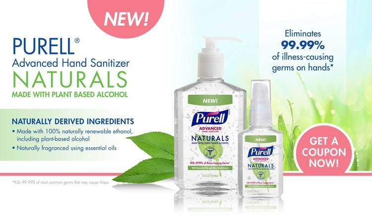 Purell Naturals Germs On Hands Hand Sanitizer Plant Based