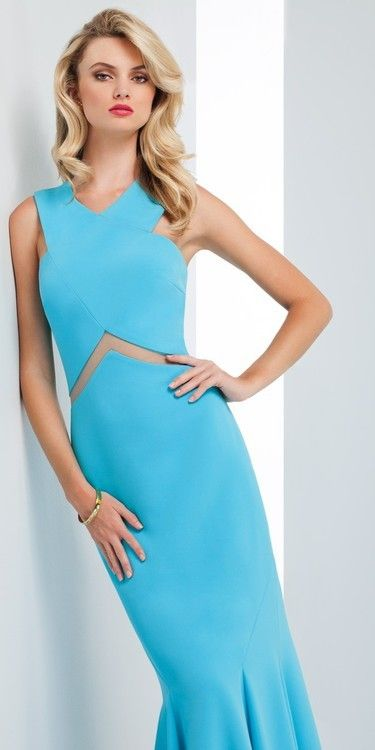 Mignon Vm1702 Long Crepe Dres In Turquoise 278 00