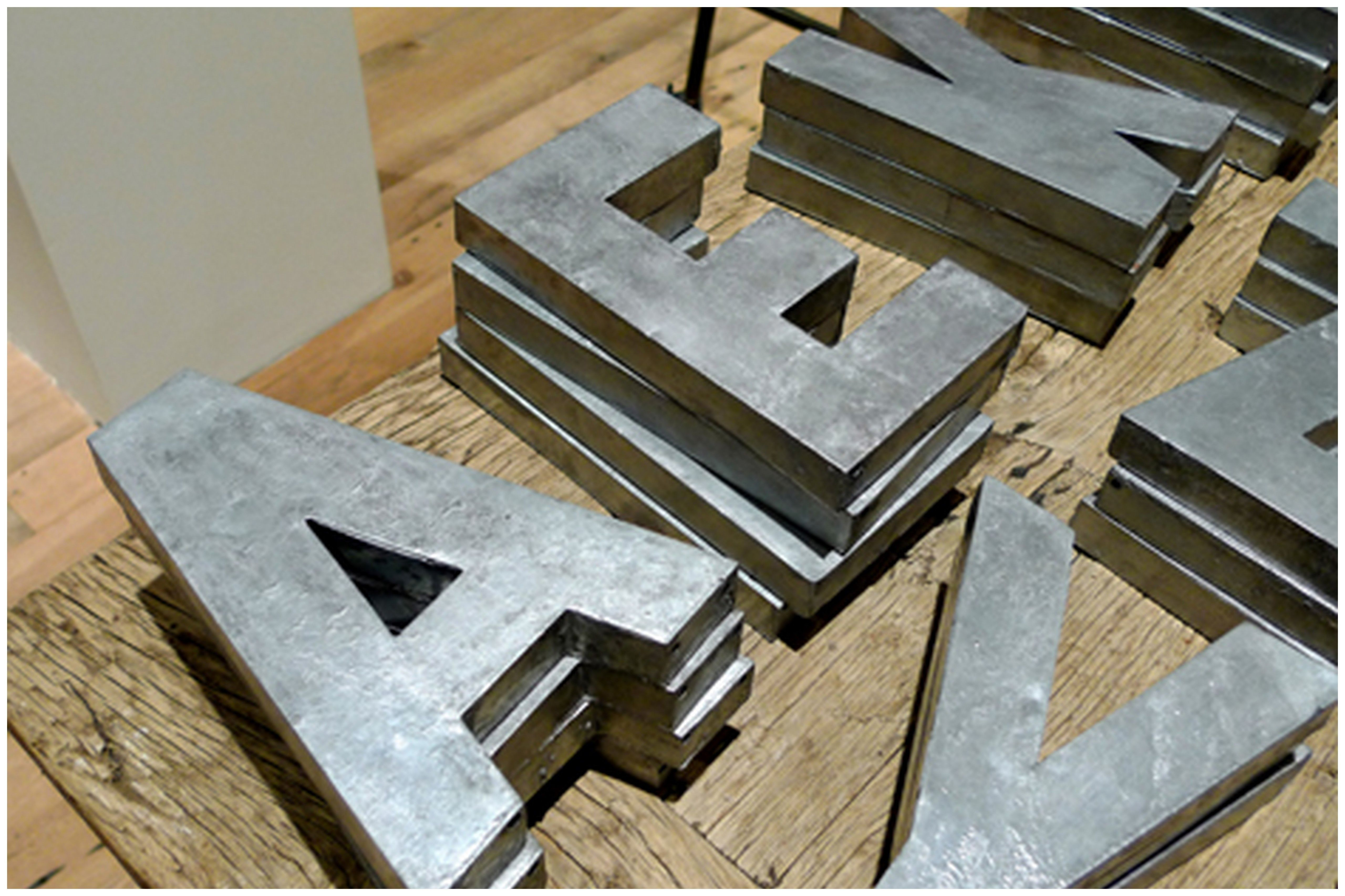 Paper Mache Letters With Metallic Spray Paint Cheaper Version Of The Zinc Metal Letters Cheap Wall Art Diy Zinc Letters Diy Wall