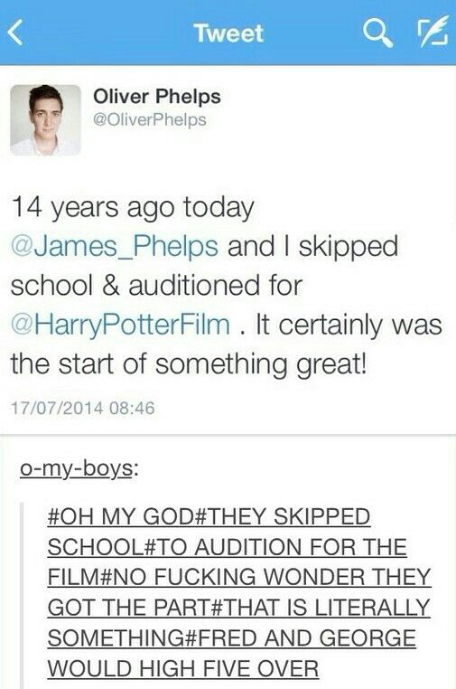 {Harry Potter} In character before they even started: dedication