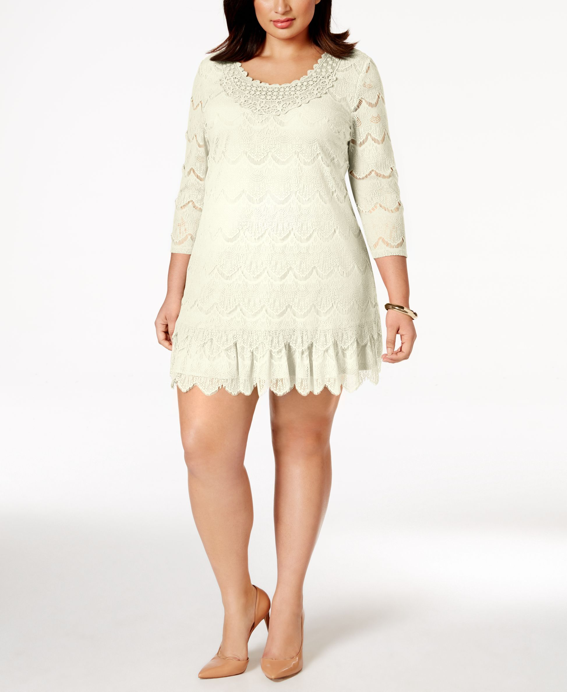 Style Co Plus Size Three Quarter Sleeve Crochet Lace Dress Only
