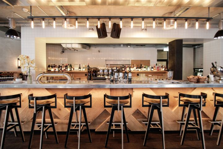 restaurant bar lighting. tin sheet counter top loweneck restaurant and bar by dyer smith frey zurich switzerland 02 lighting t