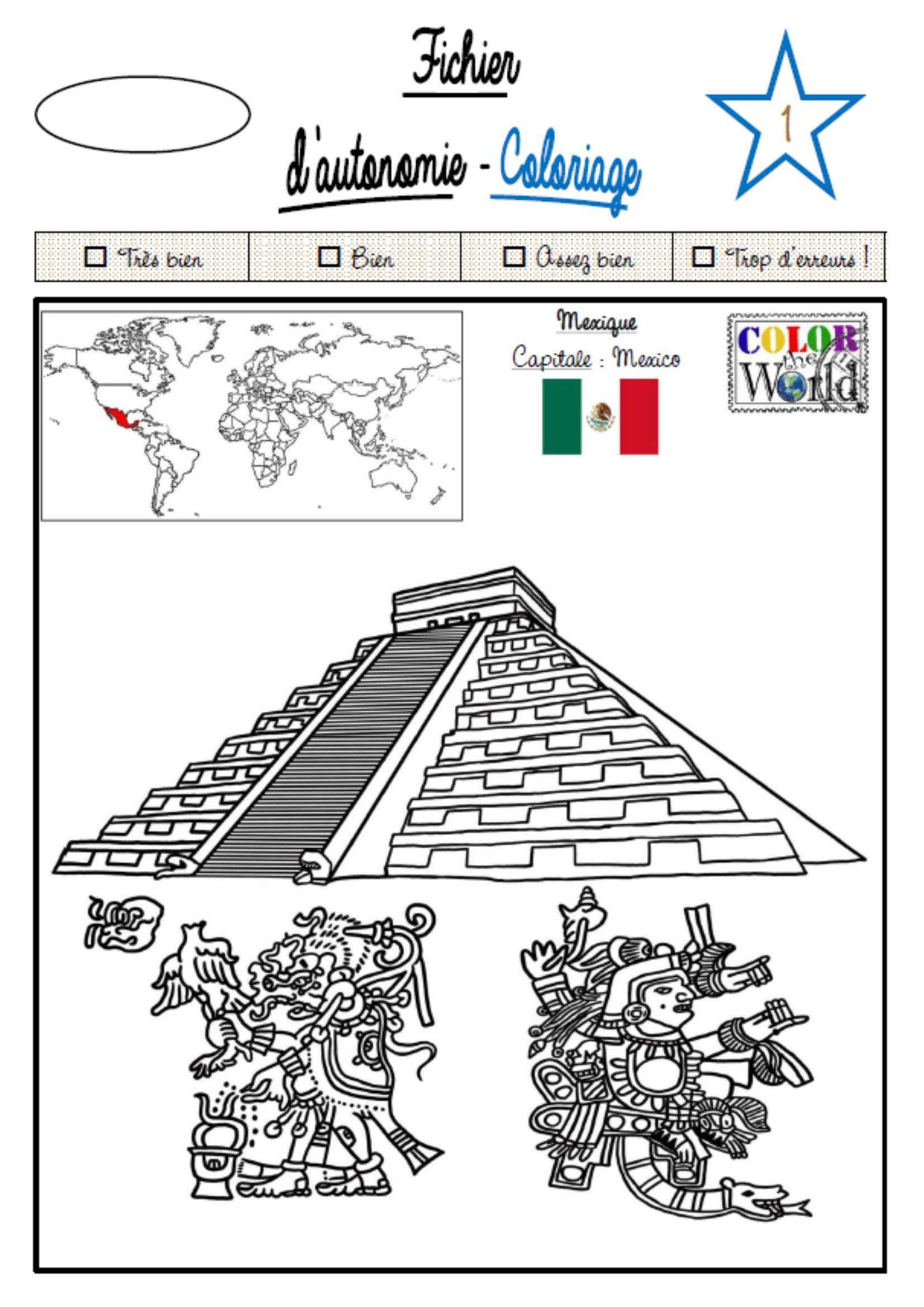 Le fichier coloriages du monde autonomie c 3 pinterest fichiers coloriage de et mexique - Dessin du mexique ...