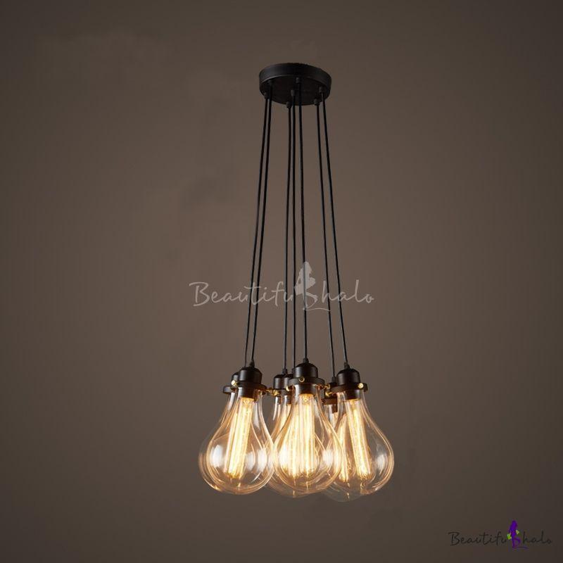 Industrial Cluster Multi Light Pendant In Exposed Edison Bulb Style 7 Lights Multi Light Pendant Cluster Pendant Lighting Industrial Pendant Lights