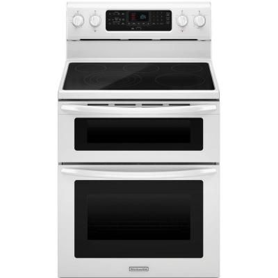 KitchenAid Architect Series II 6.7 Cu. Ft. Double Oven Electric Range With  Self Cleaning Convection Oven In White