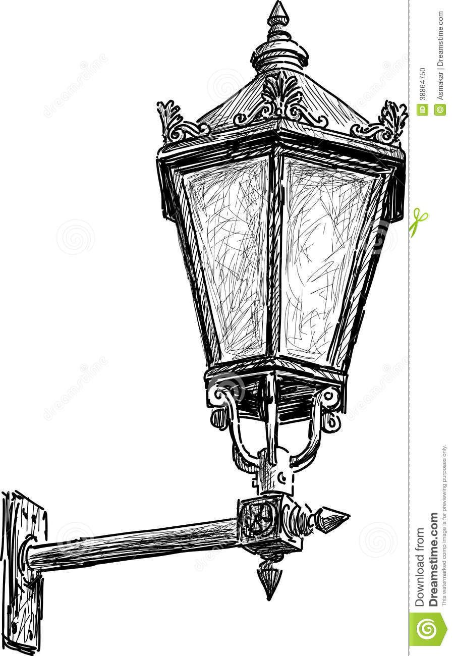 Antique Street Lantern Vector Drawing Vintage Light 38864750 Jpg 900 1300 Tekenen Lantaarnpalen