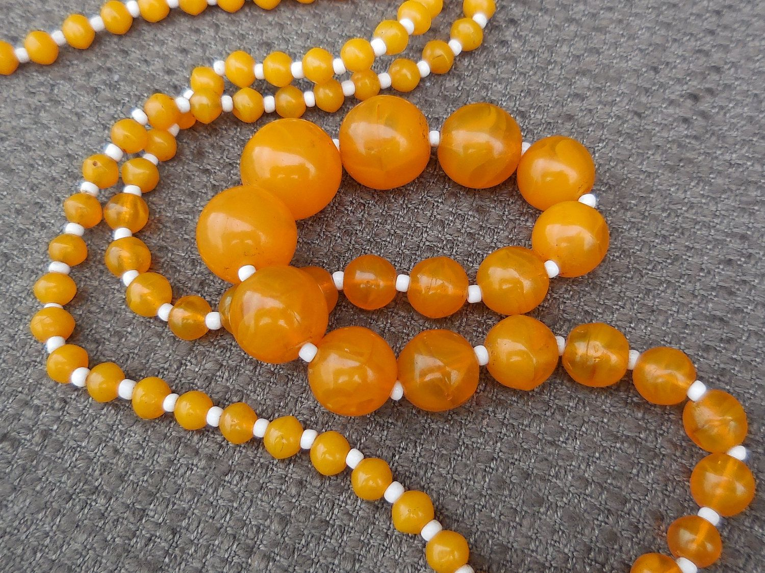 1930s Rare ORANGE Swirl Stunning GLASS Bead NECKLACE...Antique Art Glass Beads...Art Deco Jewellery...Unusual Statement Necklace! by SlimandSugar on Etsy