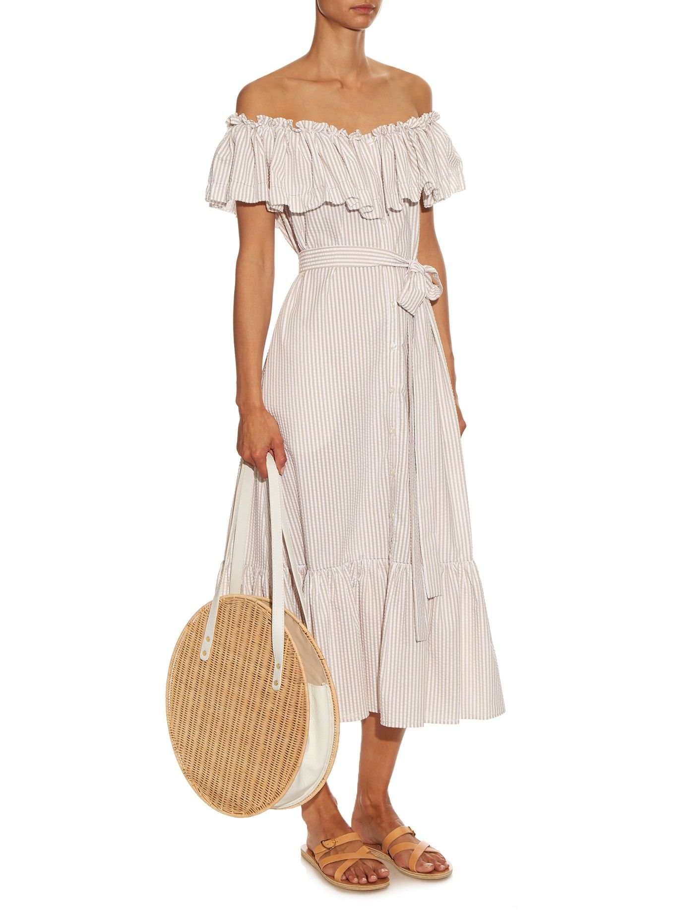 Mira off-the-shoulder striped cotton dress Lisa Marie Fernandez High Quality Online Clearance Visa Payment Wiki Cheap Online Discount Footlocker Pictures ZcEz25