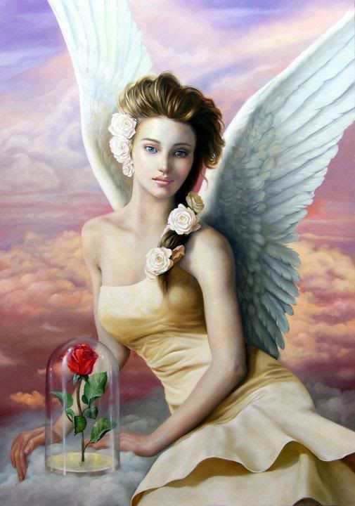 Angel preserving red rose