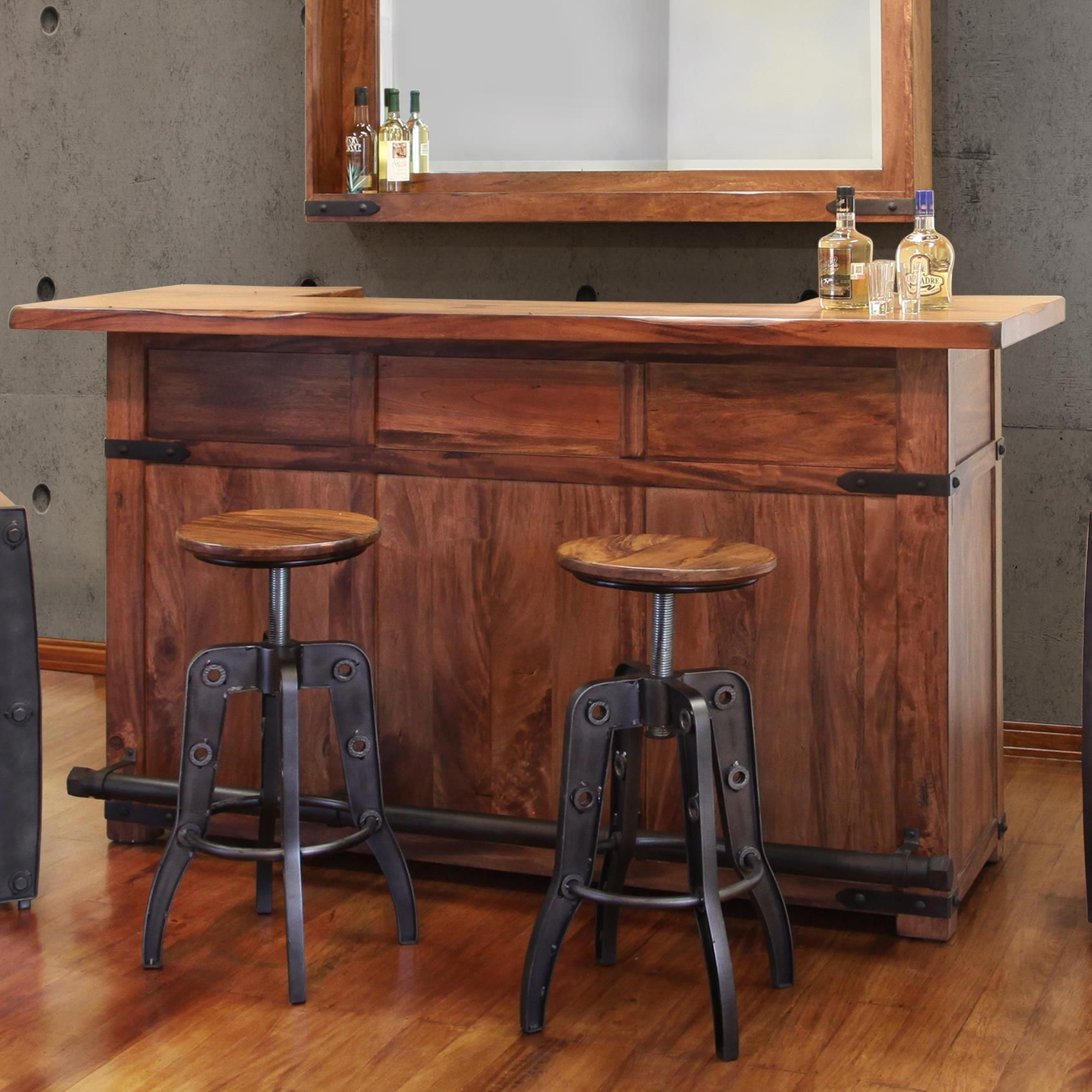 Parota Wood Bar With Iron Footrest By International Furniture Direct At Furniture And Appliancemart Furniture Direct Furniture Wood Bars
