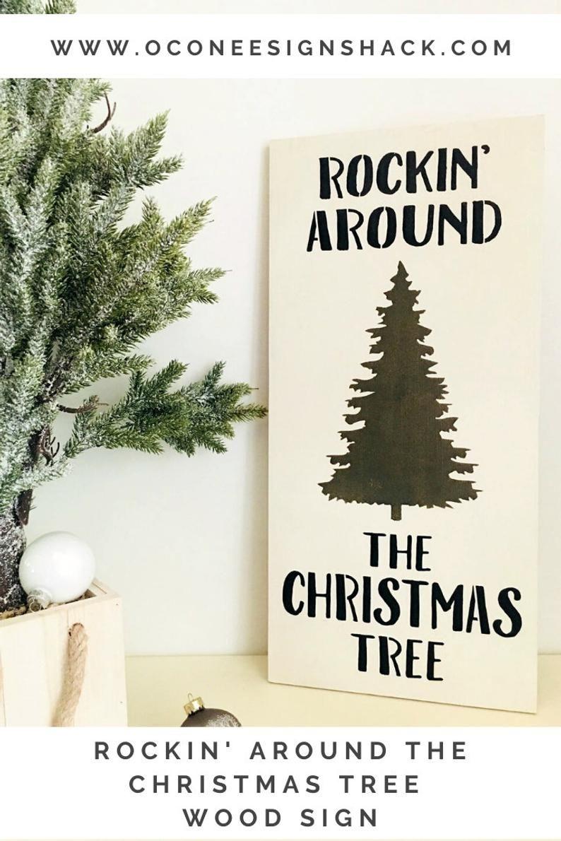 Rockin Around The Christmas Tree Rocking Around Christmas Tree Christmas Song Sign Classic Christmas Song Xmas Carol Sign Xmas Tree Art Classic Christmas Songs Christmas Tree Art Christmas Signs