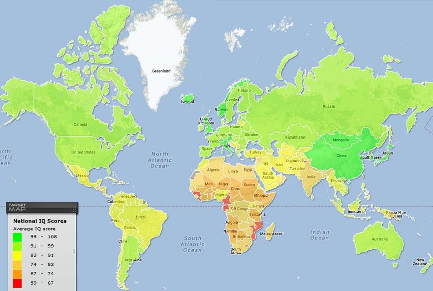 World Map Of National Iq Scores Map Country Maps World